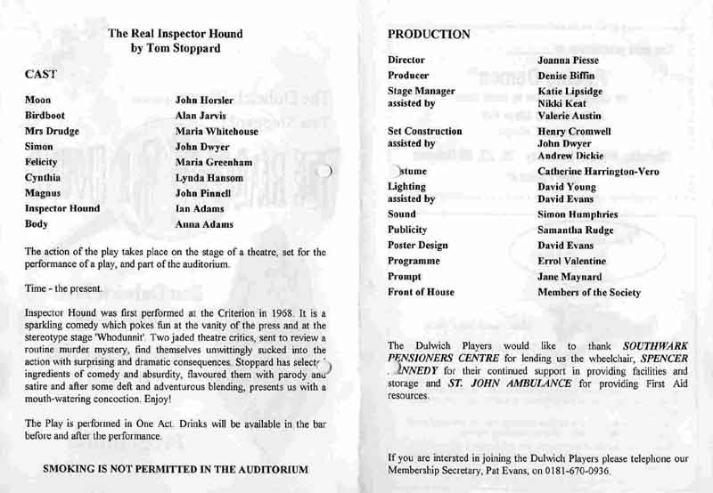 The Real Inspector Hound 1995 programme .jpg
