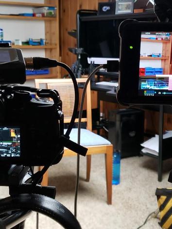 Interview setup - Panasonic GH5 plus pro audio and monitoring.