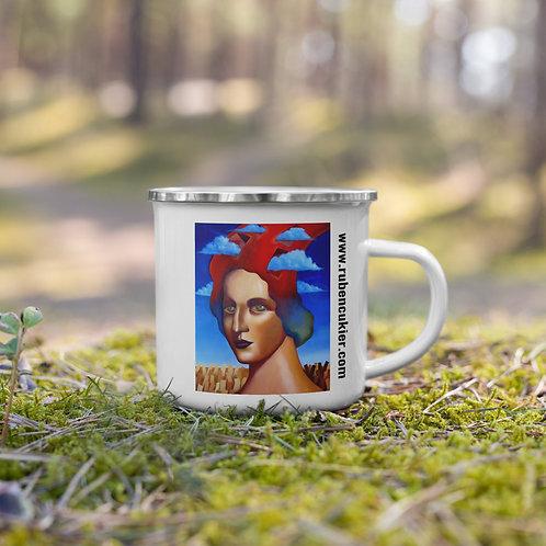 Woman with clouds Enamel Mug