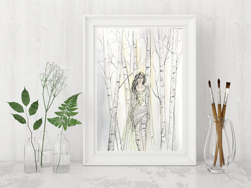 Silver Birch Tree Woman -Signed Giclee Print