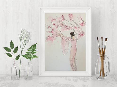 Cherry Blossom Woman -Signed Giclee Print