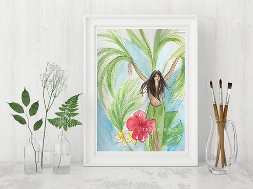 Palm Tree Woman -Signed Giclee Print