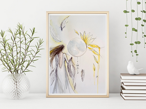 Feathers and Sunflower Goddess -Signed Giclee Print