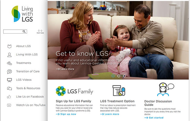 Homepage of LivingWithLGS.com, a disease education website.