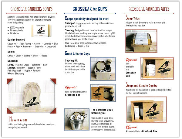 Consumer goods soap and candle brochure interior. Written by Vermont-based copywriter Stephen D'Agostino