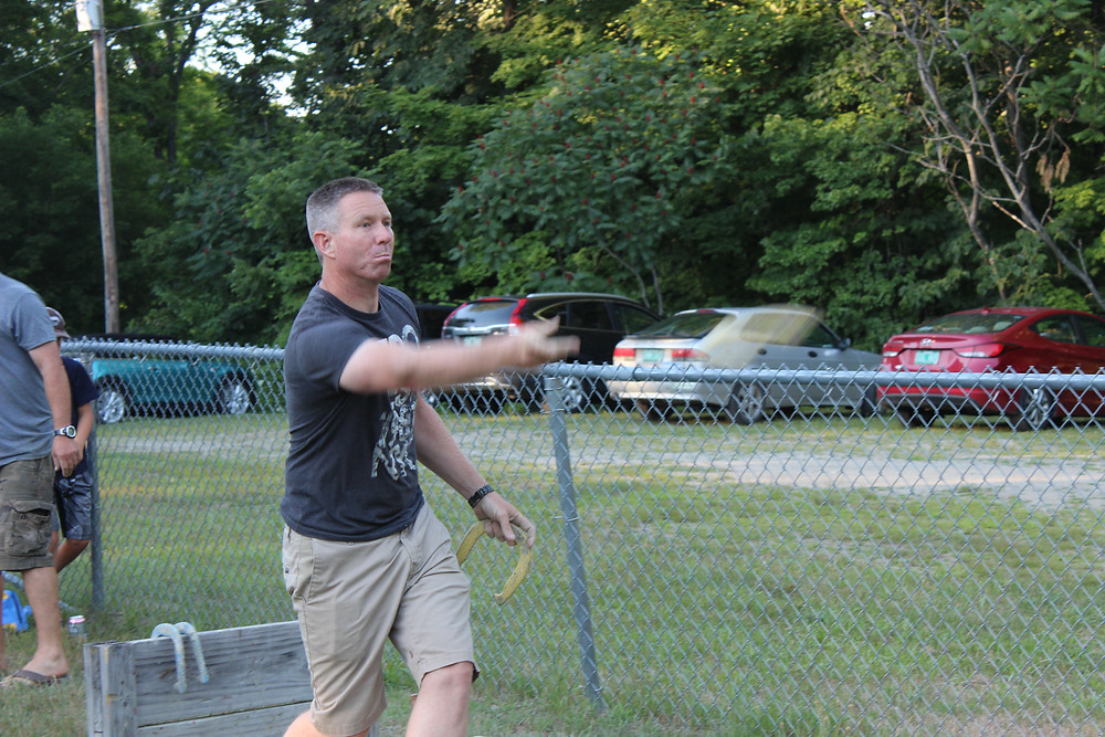 Ed Nelson pitches for Weathersfield in the Reading-Weatherfield horseshoe tourney.