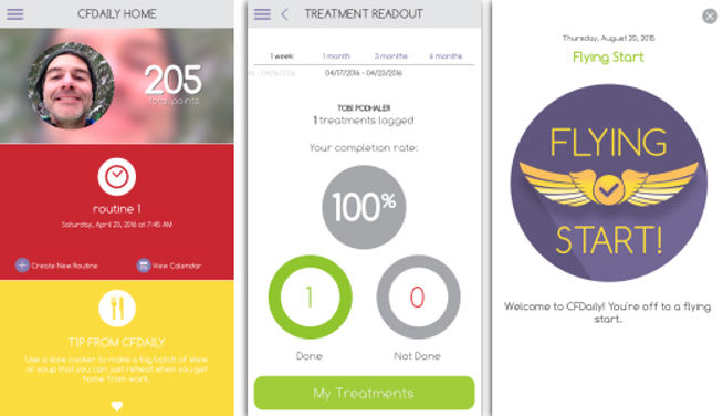 Screens for CF Daily, an app to help people with CF track their treatment.