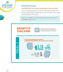 ORKAMBI cystic fibrosis treatment clinical trial results brochure page. Written by pharmaceutcal copywriter Stephen D'Agostino