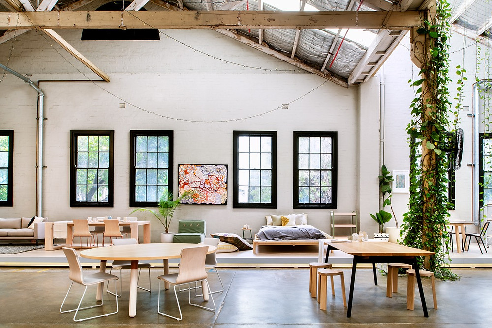 Furniture and art are displayed in a Koskela showroom.