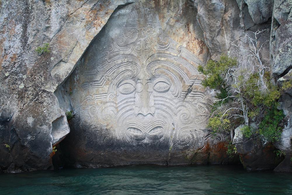 Artist Matahi Brightwell's Ngatoroirangi Mine Bay Maori rock carvings on Lake Taupo, Waikato