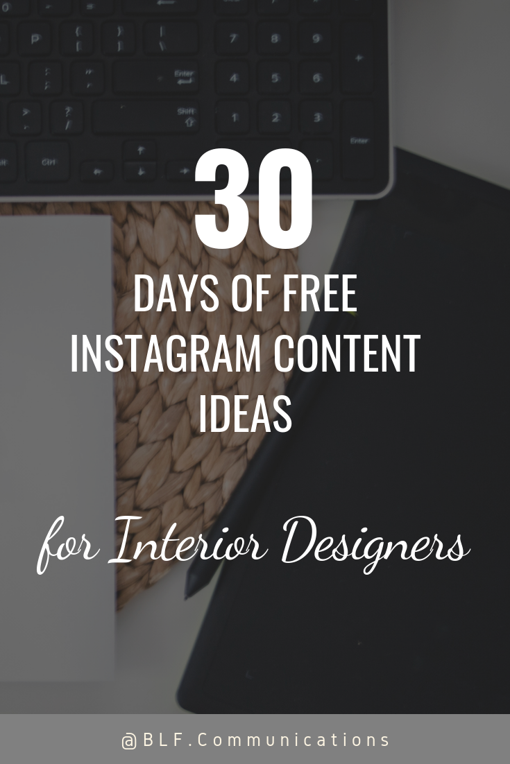 free downloadable guide, instagram content ideas for interior designers