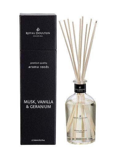 Musk, Vanilla & Geranium Aroma Reeds Black Diffuser (200ml)