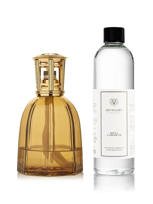 Amber Glass Lamparfum with Classic Gold Cap + 500ml Lamparfum refill