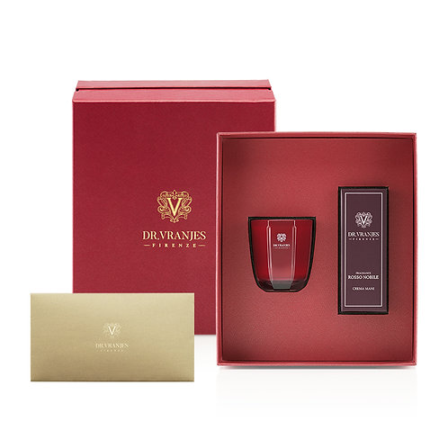 Dr. Vranjes Rosso Nobile 80g Candle + 50ml Hand Cream Gift Set