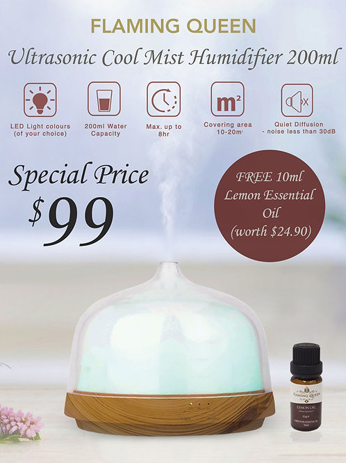 Flaming Queen Ultrasonic Cool Mist Humidifier (200ML) + FREE 10ML Lemon Ess.Oil