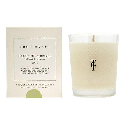 True Grace Village 190G Candle - Green Tea & Citrus (100% Natural Wax))