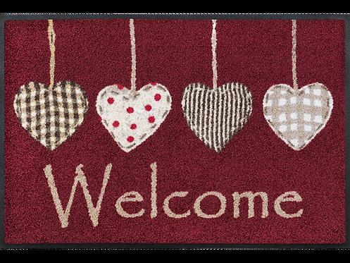Kleen-Tex wash+dry Floor Mat Design -  Cottage Hearts Red