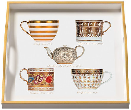Antique Cups, Small White Tray