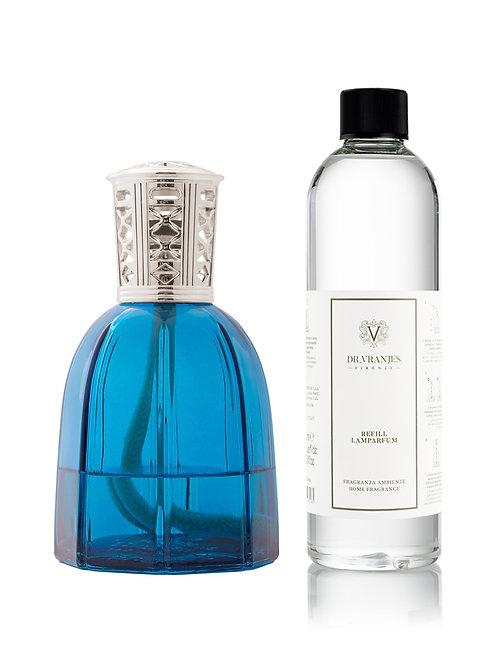 Sapphire Blue Lamparfum with Classic Silver Cap + 500ml Lamparfum refill
