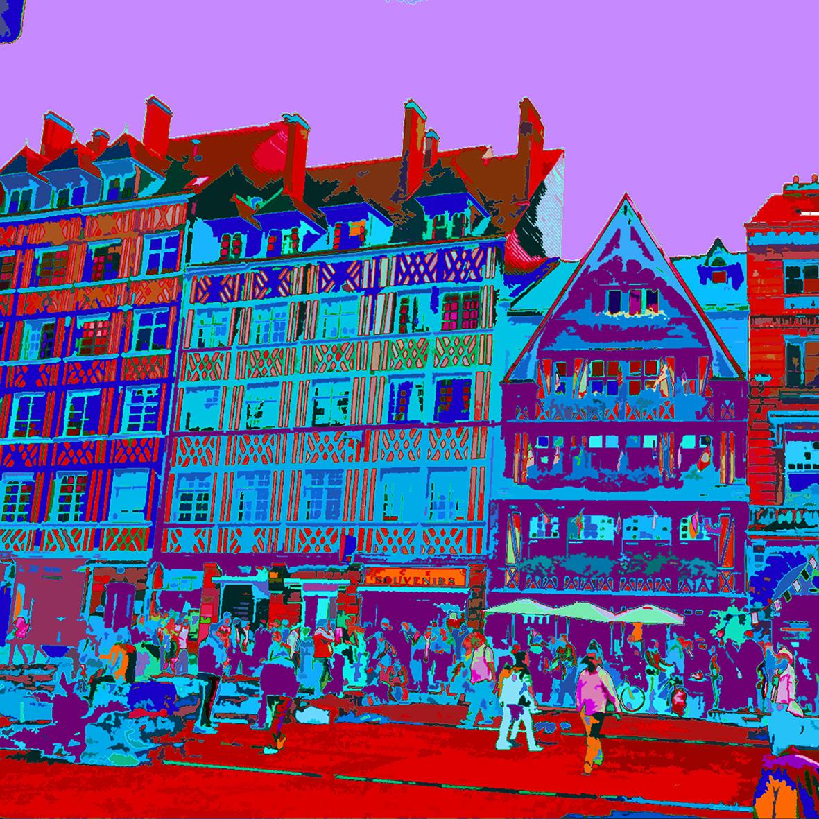 Place du marché à Rouen