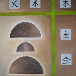 Gongs - Huile sur fond de sable - 90x80 cm - Prix: 500 €