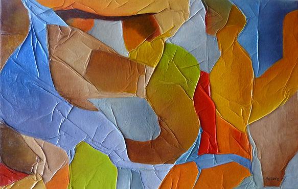 Peinture contemporaine sur fond marouflé. Couleurs vives à prédominance jaune et vert. Silhouettes aux formes imprécises.