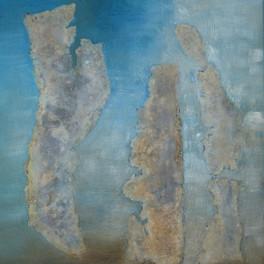 L'homme qui parle aux ours - Huile sur sable collé - Motifs en zinc - 55x45 cm - Prix: 220 €
