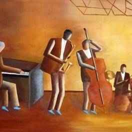 Blue jazz - Huile sur sable collé - 80x65 cm - Prix: 400 €