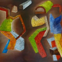 Hip Hop -  Huile sur sable collé - 85x50 cm - Prix: 300 €