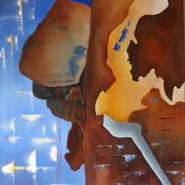 Le fil rouge - Huile sur sable collé - 65x50 cm - Prix: 250 €