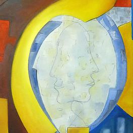 Le miroir - Huile sur sable collé - 60x45 cm - Prix: 200 €