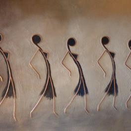 Balade - Huile sur sable collé - Motifs cuivre - 65 x 50 cm - Prix: 250 €