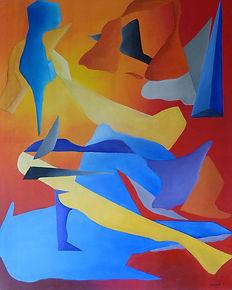 """Peinture abstraite intitulée """"Le bain"""". Diverses formes aux teintes chaudes avec prédominance de rouge, de jaune et de bleu."""