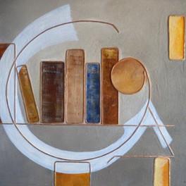 Bien-être - Huile sur sable collé - Motifs cuivre - 60x50 cm - Prix: 220 €