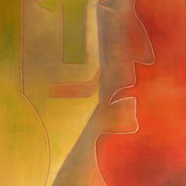 Complémentarité - Huile sur fond de sable collé - motifs cuivre - 70x50 cm - Prix: 280 €
