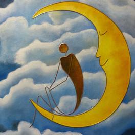 Mon amie, la lune - Huile sur sable collé - Motifs cuivre - 65x50 cm - Prix: 250 €