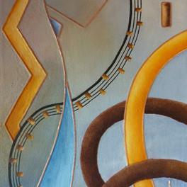 Musica - Huile sur sable collé - Motifs cuivre - 70x45 cm - Prix: 240 €