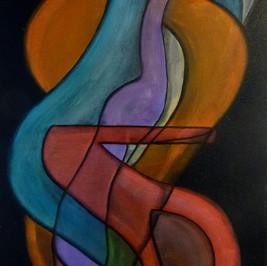 Retrouvailles - Huile sur toile - 70x40 cm - Prix: 160 €