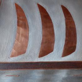 Au fil de l'eau - Huile sur sable collé - Motifs cuivre - 80x40 cm - Prix: 230 €