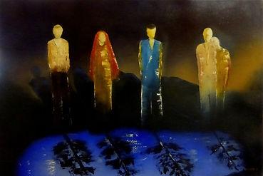 La flaque - Peinture figurative contemporaine -  Huile au couteau - Tableau nocturne, lumineux, sur fond sombre représentant 5 personnages debout devant une flaque d'eau bleue.
