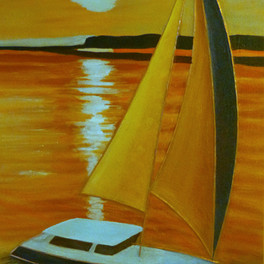 Voilier 2 - Huile sur sable collé - motifs cuivre - 65x40 cm- Prix: 160 €