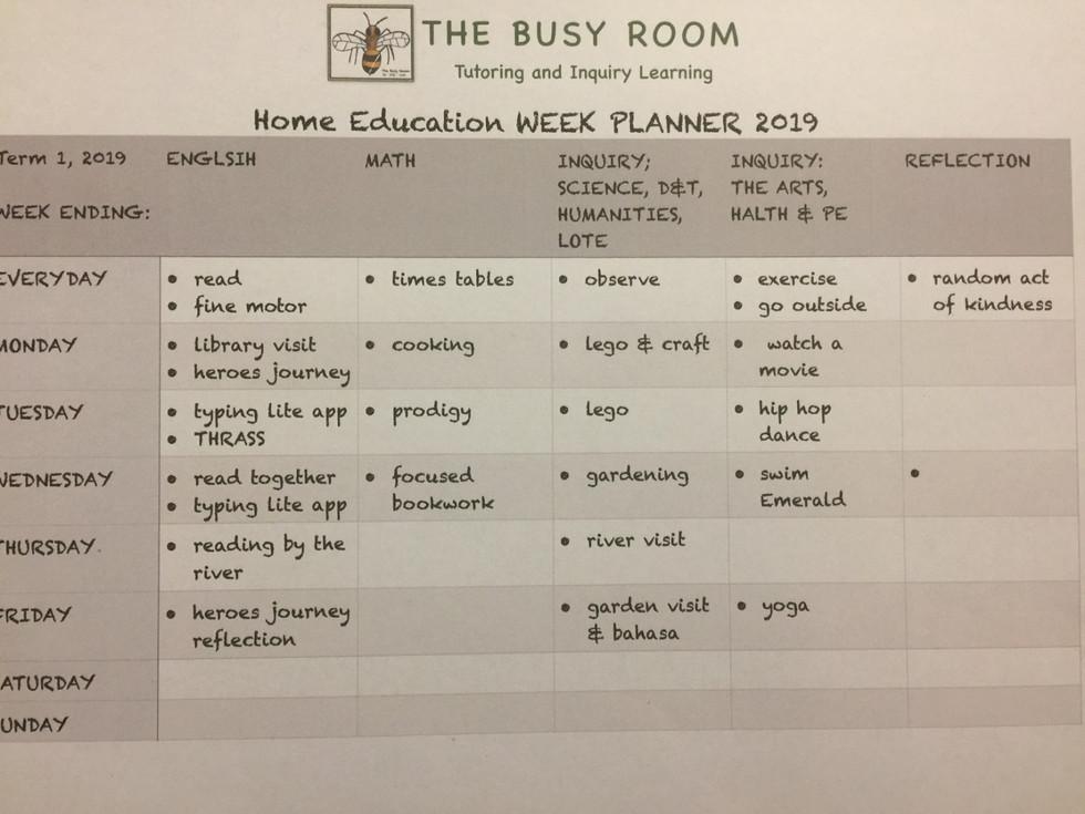 Home Education Week Plan