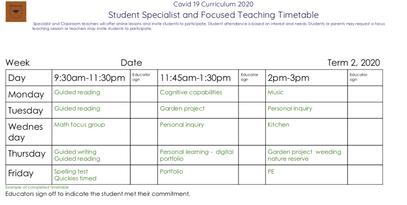 Life School Week Plan