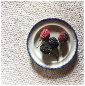 Small Creamware Plate with Blue Rim