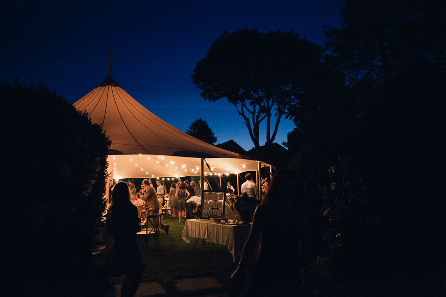 Night time party under tent