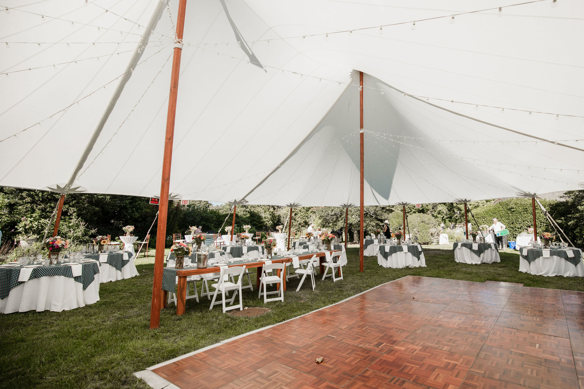 Tent and dance floor at Halsey House