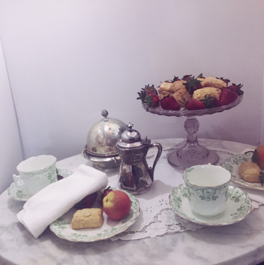 The concept of afternoon tea time has been a tradition not long rooted in English culture, but has been an impactful one. Tea time was originated in the 1660's by King Charles, but did not become a popular pastime until 1840, by Anna, the seventh Duchess of Bedford. It is said that the Duchess would get hungry around 4PM and could not wait until supper (which was usually around 8PM) to eat, so she would ask that a tray of tea, bread and butter, and cake be brought to her room. As her habit for the request grew, she invited her friends to join her, and during the 1880's, it became fashionable for upper-class women to get dressed up for tea, which would be served between four and five in the afternoon. Around this time also, the trend moved to America, where wealthy households adopted the tradition. The tea set is located in the Dining Room on the first floor.