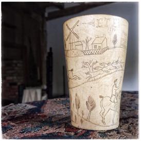 Scrimshaw Horn Cup
