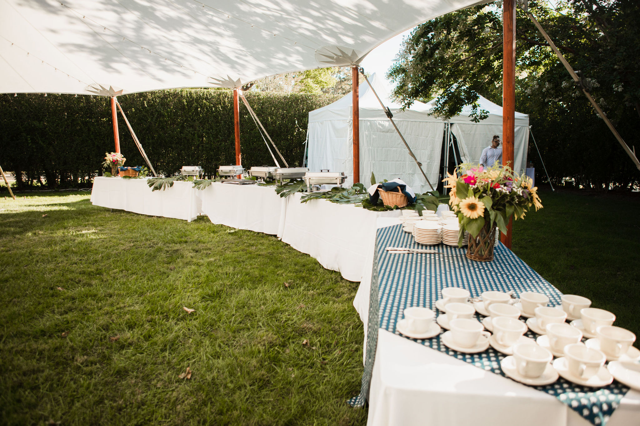 Buffet under tent at Halsey House