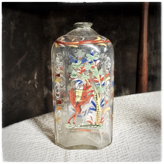 Colonial Hand-painted Glass Decanter